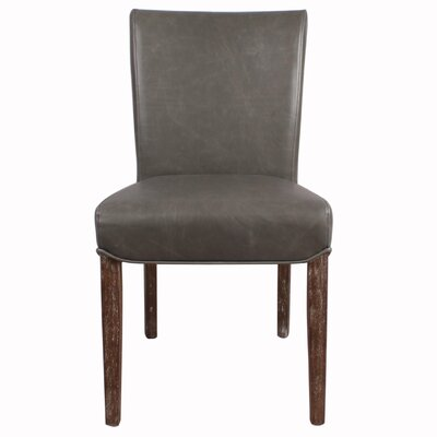 Beverly Hills Genuine Leather Upholstered Dining Chair Color: Vintage Gray