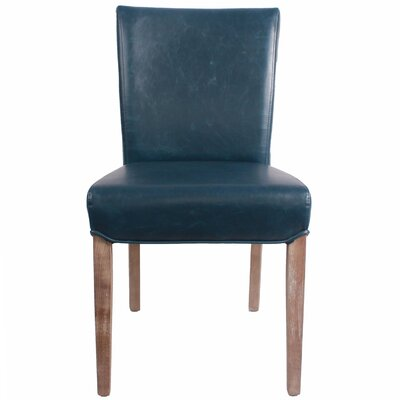 Beverly Hills Genuine Leather Upholstered Dining Chair Color: Vintage Blue