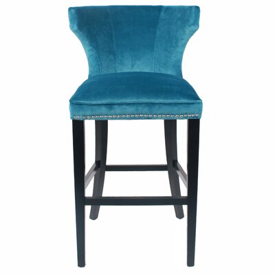 Dexter 30.5 inch Bar Stool with Cushion Upholstery: Mozart Blue
