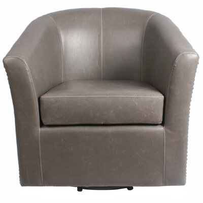 Ernest Bonded Leather Swivel Barrel Chair Color: Vintage Gray