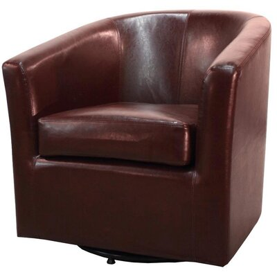 Teesha Barrel Chair Upholstery: Saddle Brown