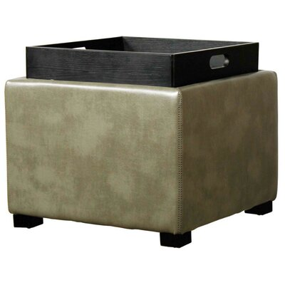 Jeddo Cube Ottoman Leather Color: Quarry