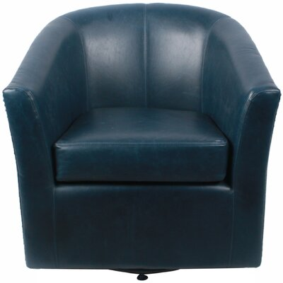 Ernest Bonded Leather Swivel Barrel Chair Color: Vintage Blue