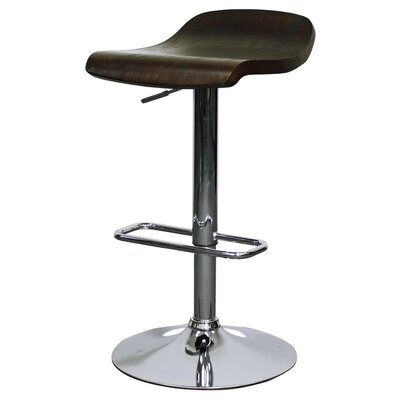 Byrd Adjustable Height Bar Stool with Cushion Finish: Dark Brown