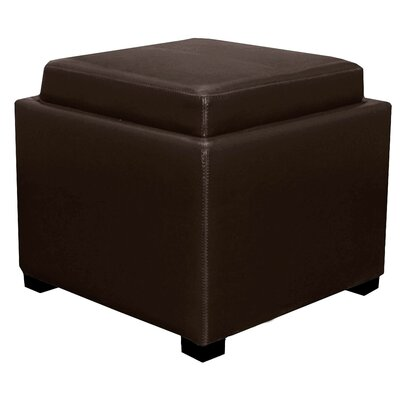 Jeddo Leather Square Ottoman Upholstery: Brown