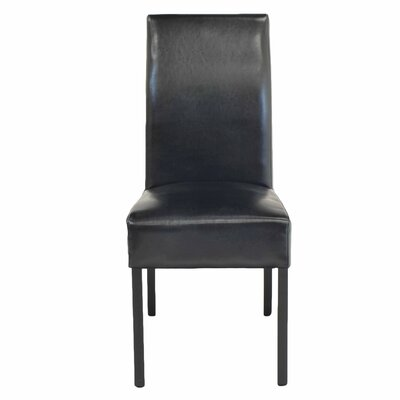 Bartram Genuine Leather Upholstered Dining Chair Color: Black