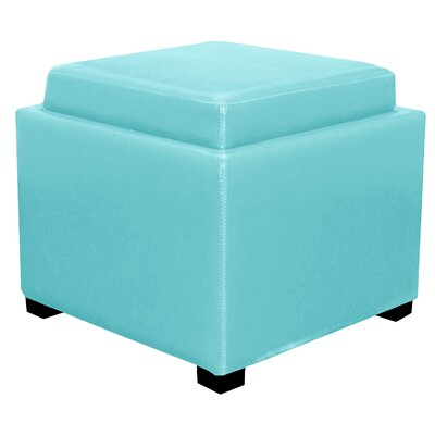 Jeddo Leather Square Ottoman Upholstery: Blue