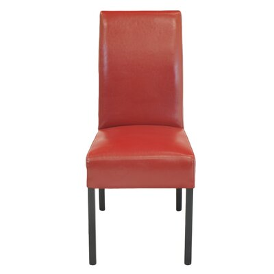 Carli Genuine Leather Upholstered Dining Chair Color: Red