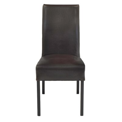 Bartram Genuine Leather Upholstered Dining Chair Color: Brown