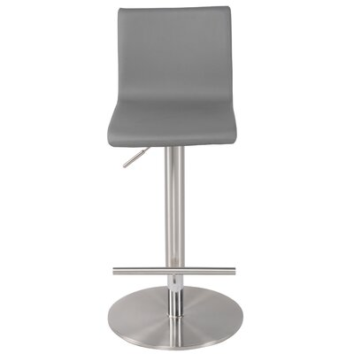 Renly Adjustable Height Bar Stool with Cushion Upholstery: Gray