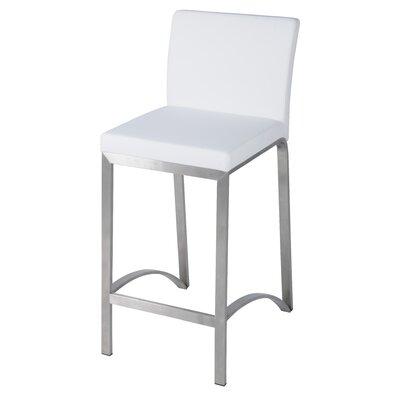 Edward  26 inch Bar Stool with Cushion Upholstery: White