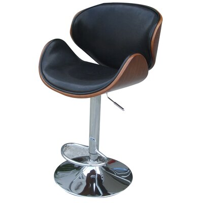 Zenon Adjustable Height Swivel Bar Stool with Cushion