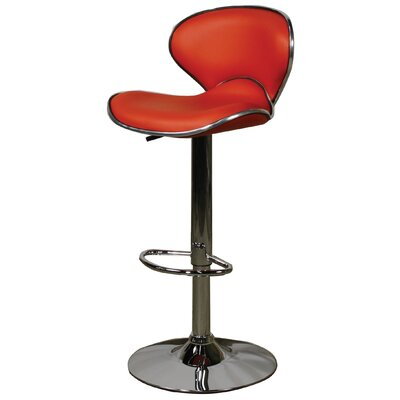 Orion Adjustable Height Bar Stool with Cushion Upholstery: Red