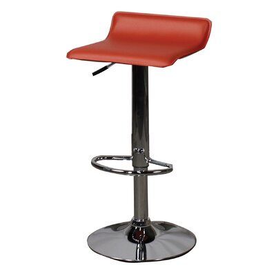 Nova Adjustable Height Bar Stool with Cushion Upholstery: Red