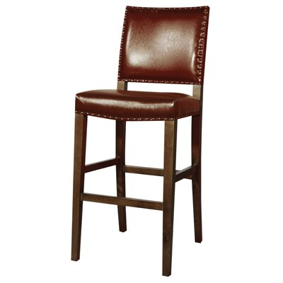 Rowan 31 Bar Stool with Cushion Upholstery: Saddle Brown