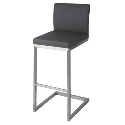 Bran 30 inch Bar Stool with Cushion Upholstery: Gray