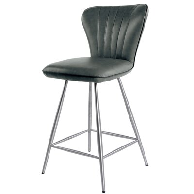 Briley 26 inch Swivel Bar Stool with Cushion Upholstery: Anchor Gray