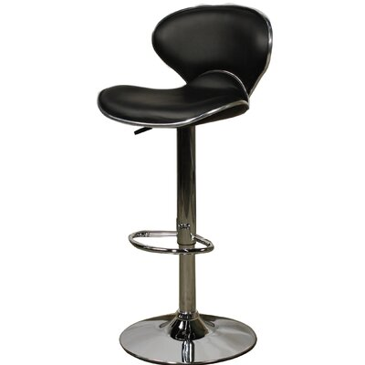 Orion Adjustable Height Bar Stool with Cushion Upholstery: Black