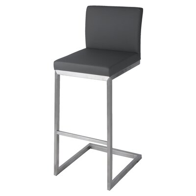 Bran 26 Bar Stool with Cushion Upholstery: Gray