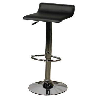 Nova Adjustable Height Bar Stool with Cushion Upholstery: Black