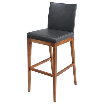 Devon 26.5 Bar Stool with Cushion Upholstery: Antique Gray