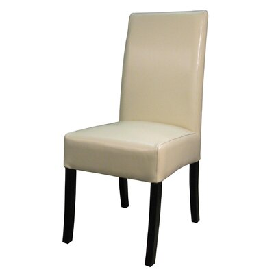 Carli Genuine Leather Upholstered Dining Chair Color: Beige
