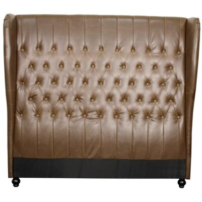 Alice Upholstered Wingback Headboard Upholstery: Vintage Brown, Size: King