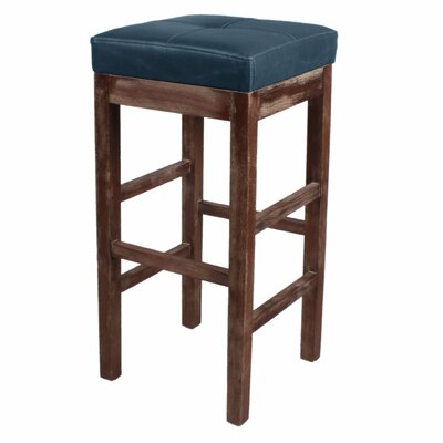 Valencia 31 inch Bar Stool Finish: Drift Wood, Upholstery: Vintage Blue