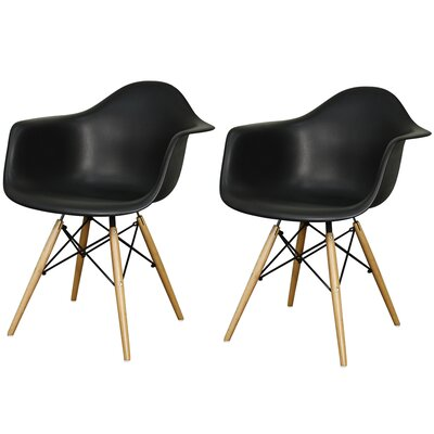 Carl Arm Chair with Wooden Legs Finish: Black