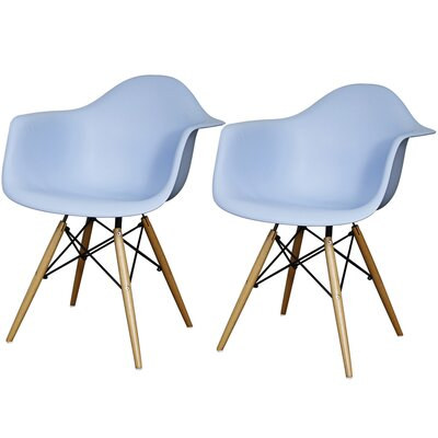 Carl Arm Chair with Wooden Legs Finish: Blue