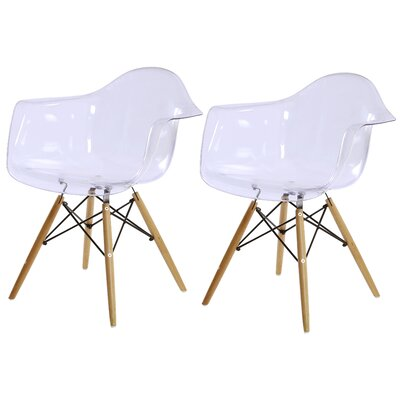 Carl Arm Chair with Wooden Legs Finish: Transparent