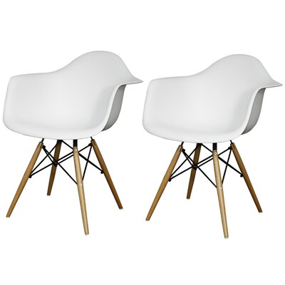 Carl Arm Chair with Wooden Legs Finish: White