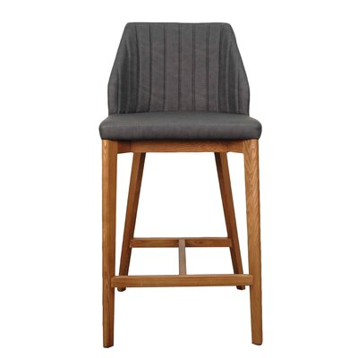 Tory 26.5 Bar Stool with Cushion Upholstery: Antique Gray