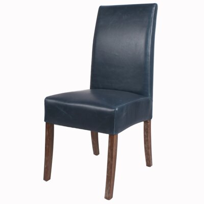 Kimberling Parsons Chair Finish: Drift Wood, Upholstery: Vintage Blue