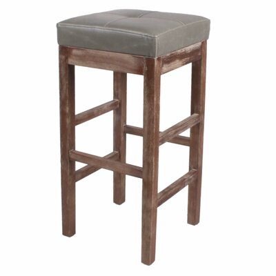 Valencia 31 inch Bar Stool Finish: Drift Wood, Upholstery: Vintage Gray