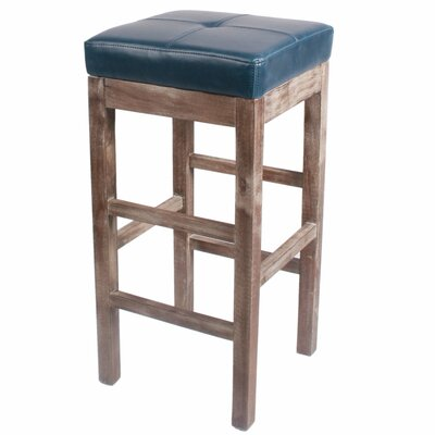Kimberling 31 Bar Stool Finish: Drift Wood, Upholstery: Vintage Blue