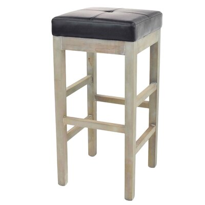 Kimberling 31 Bar Stool Finish: Mystique Gray, Upholstery: Black