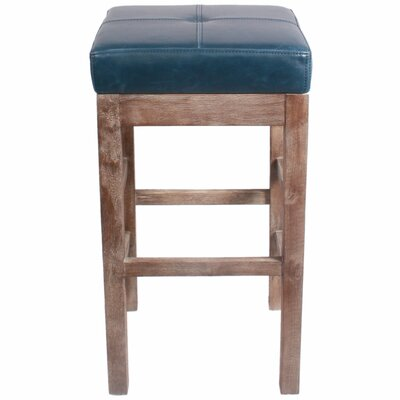 Kimberling 27 Bar Stool Finish: Drift Wood, Upholstery: Vintage Blue