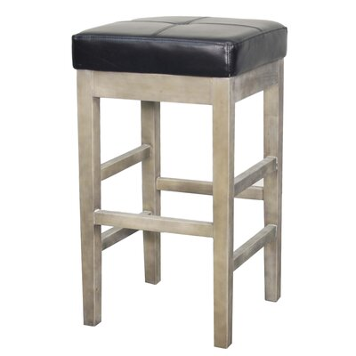 Kimberling 27 Bar Stool Finish: Mystique Gray, Upholstery: Black