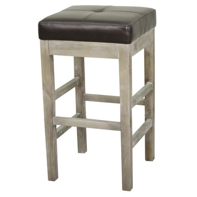 Kimberling 27 Bar Stool Finish: Mystique Gray, Upholstery: Coffee Bean