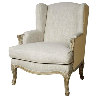 Marie Wingback Chair Upholstery: Rice/Burlap