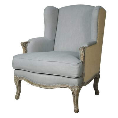 Albarran Wingback Chair Upholstery: Soft Blue/Burlap
