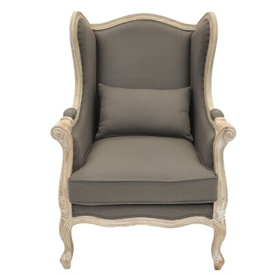 Guinevere Wing Burlap Armchair Color: Caf� Mocha