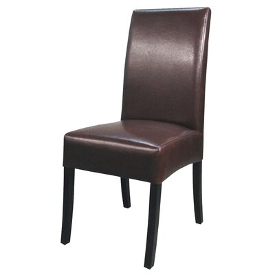 Valencia Parsons Chair Upholstery: Saddle Brown, Finish: Dark Brown