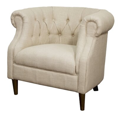 Luna Fabric Tufted Barrel Chair Color: Flax