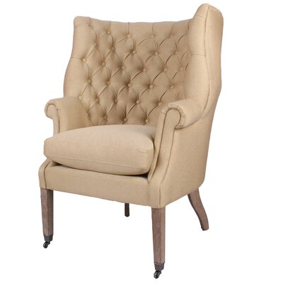 Kingsley Tufted Wing Armchair Upholstery: Natural