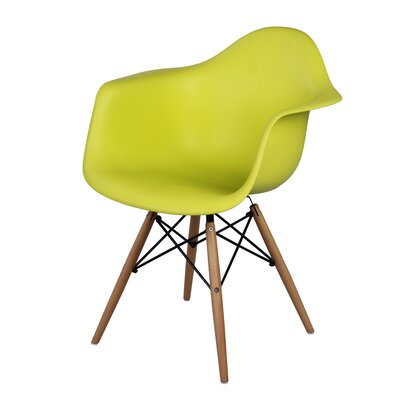 Judah Arm Chair with Wooden Legs Finish: Lime