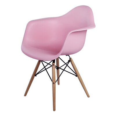 Carl Arm Chair with Wooden Legs Finish: Pink