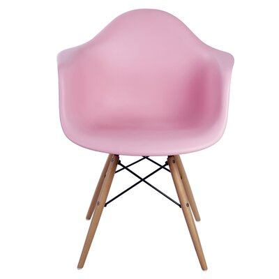 Pospisil Arm Chair with Wooden Legs Finish: Pink