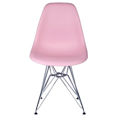 Allen Side Chair with Metal Wire Legs Finish: Pink